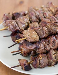 Greek cuisine at its best, easy to make at home lamb souvlaki with greek marinade and step by step instructions.