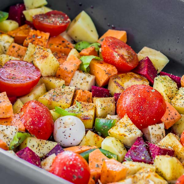 Great mix of sweet potatoes, tomatoes, onions and more