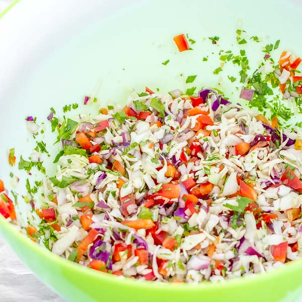 Easy and healthy cabbage slaw with pomegranates