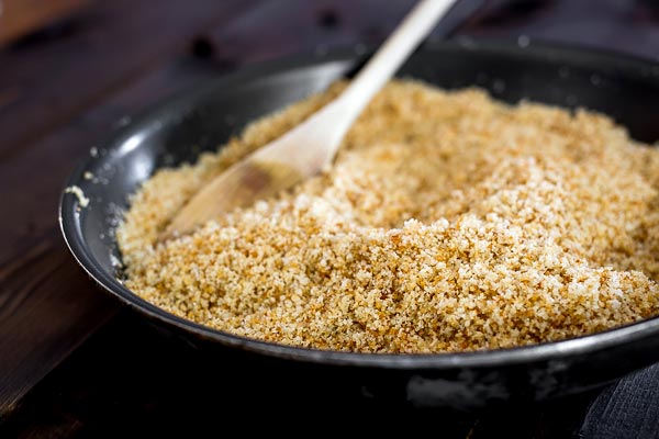 Butter fried breadcrumbs and mixed with sugar