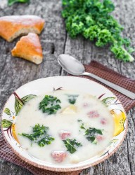 Tuscan soup or Zuppa Toscana is a delicious Italian dish with mild sausages, kale or swiss chard and many other goodies | CookingGlory.com #soup #Italian #sausages #recipe
