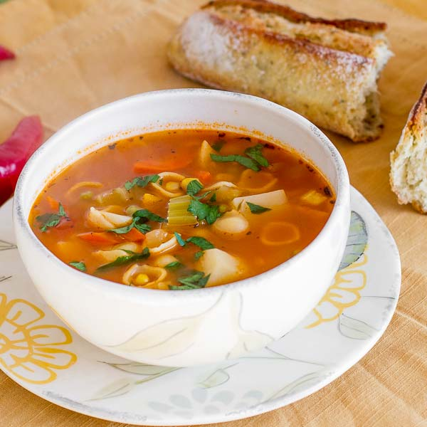 Healthy minestrone soup recipe loaded with veggies