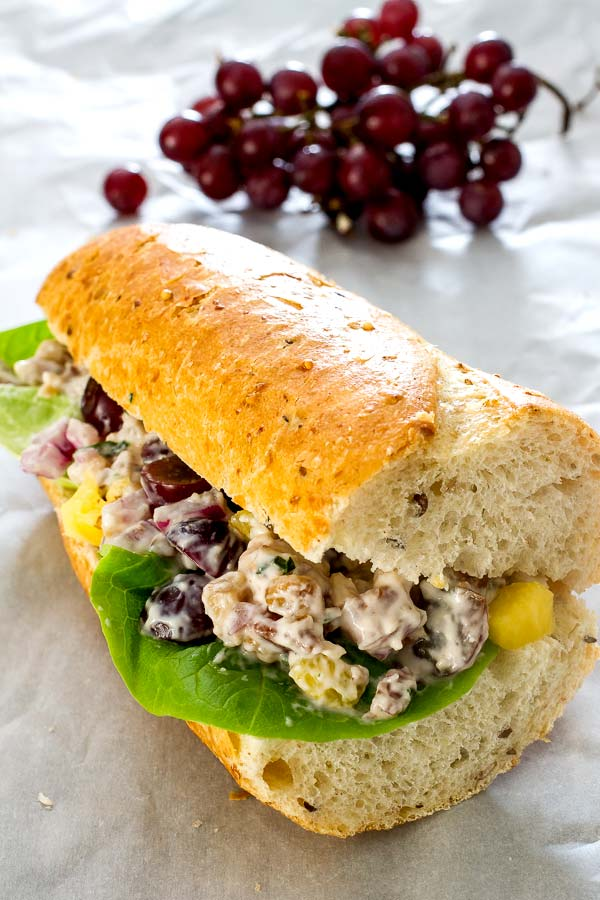 Nutty chicken salad served on a multi-grain baguette