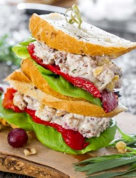 Your normal chicken salad recipe loaded with nuts and fruits