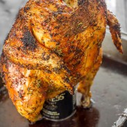 Delicious roasted chicken loaded with spices and herbs, cooked using beer steam.